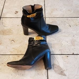 Michael Kors black high heeled leather booties